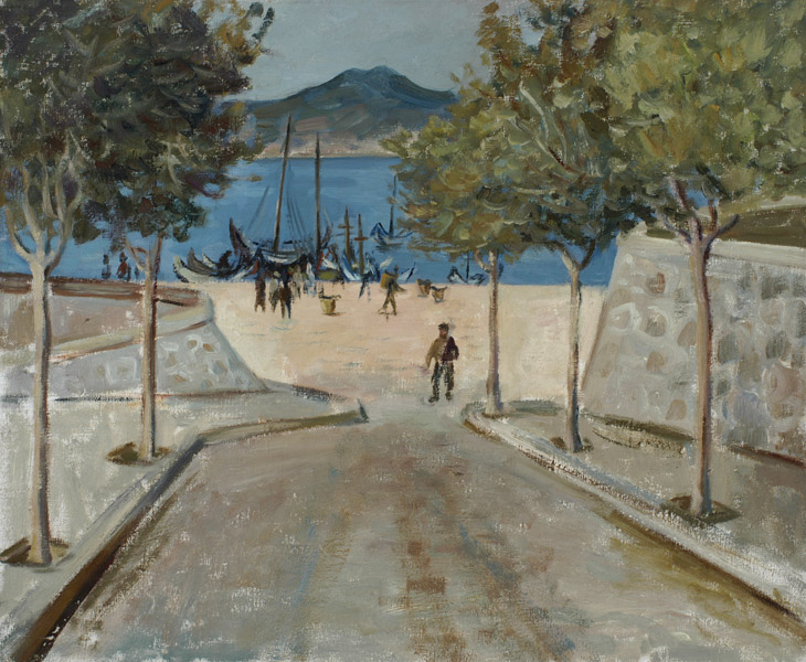 Untitled (camino en bajada y botes en la orilla) Oleo s/tela 45x55 c/1932